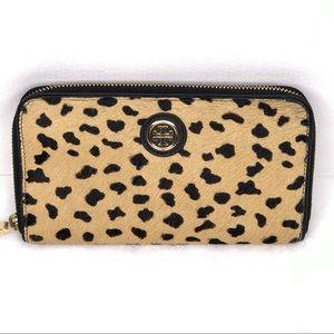 Tory Burch Rare Cheetah Calf Hair Robinson Wallet